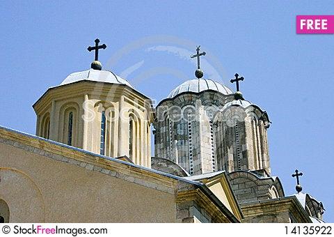 Free Serbian Monastery Dome Stock Photography - 14135922