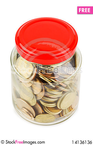 Free Coins In Glass Can Royalty Free Stock Image - 14136136