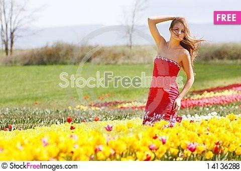 Free Beautiful Girl In Yellow Tulips Royalty Free Stock Photos - 14136288