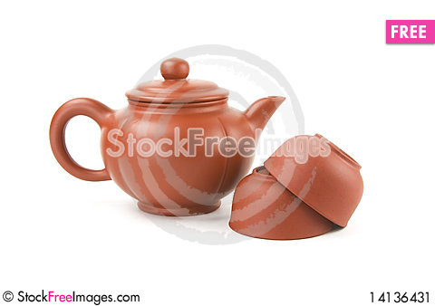 Free Chinese Teapot And Two Cups Stock Image - 14136431
