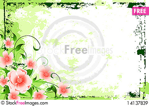 Free Abstract Grunge Background With Flowers Royalty Free Stock Images - 14137839