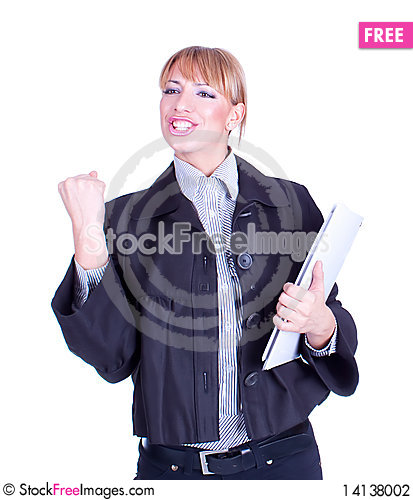 Free Successful Business Woman Holding Document Folder Stock Photography - 14138002