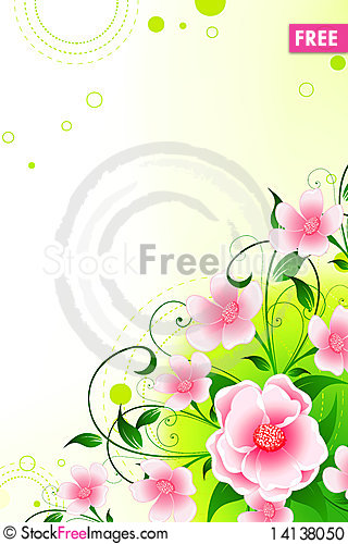 Free Abstract Background With Flowers And Leaves Stock Photo - 14138050