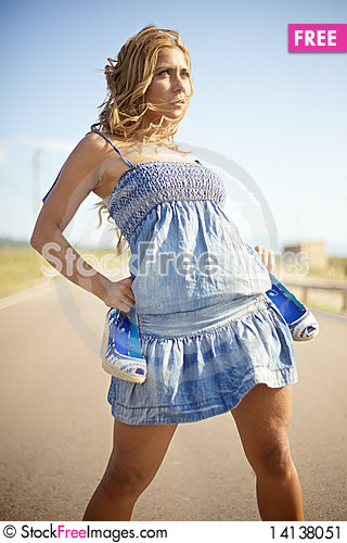 Free Blond Woman On Summer Day Stock Image - 14138051