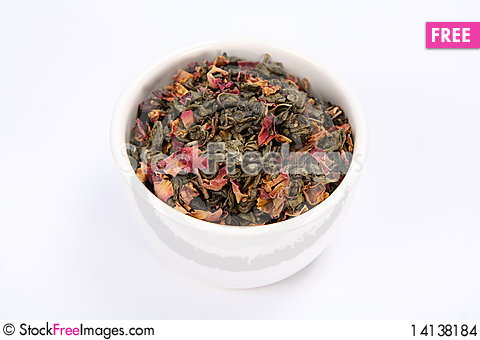 Free Bowl Of Dried Green Tea Leaves Stock Images - 14138184