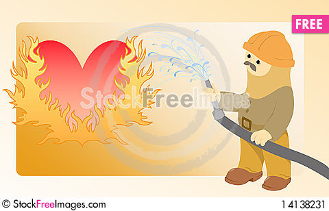 Free Flaming Heart Stock Image - 14138231