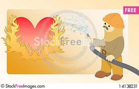 Flaming heart Stock Photo