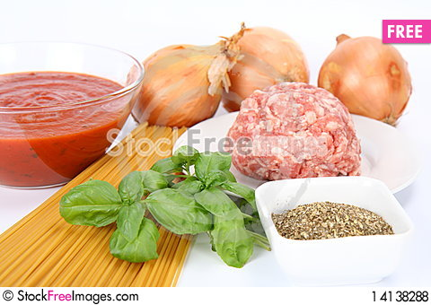 Free Ingredients For Spaghetti Bolognese Royalty Free Stock Photos - 14138288