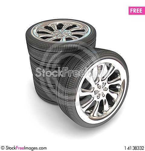 Free Wheels Over White Background. Stock Photography - 14138332