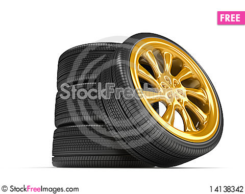 Free Wheels Over White Background. Stock Photography - 14138342
