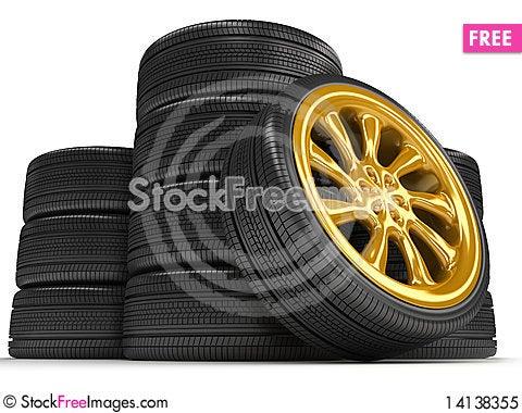 Free Wheels Over White Background. Royalty Free Stock Photo - 14138355