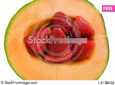 Free Cantaloupe Melon With Strawberries Royalty Free Stock Image - 14138656