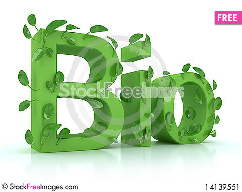 Free The Word Bio With Leaves On The Steams In Green Stock Image - 14139551