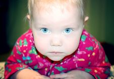 Free Little Baby With Blond Hair And Blue Eyes. Stock Image - 14130601