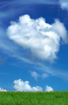 Free Green Field And Sky Blue With White Clouds Royalty Free Stock Images - 14130929