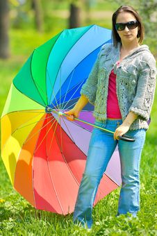 Free Beautiful Woman With Umbrella Royalty Free Stock Images - 14132259