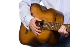 White Man Playing Guitar Stock Photos