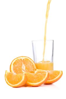 Free Orange Slices And Half Juice In Glass Royalty Free Stock Photo - 14132525