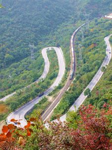 The Winding Mountain Road Bend Stock Image