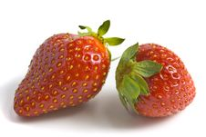 Free Two Ripe And Appetizing Strawberries. Royalty Free Stock Image - 14133096