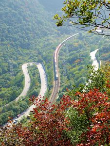 The Winding Mountain Road Bend Royalty Free Stock Image
