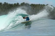 Surfer On Wave, Mentawai Islands, Indonesia Royalty Free Stock Photo