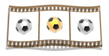 Free Film With 3d Soccer Balls Stock Photo - 14134750