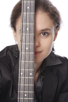 Young Womanwith Bass Guitar Royalty Free Stock Photos