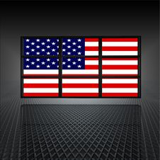 Video Wall With Us Flag On Screens