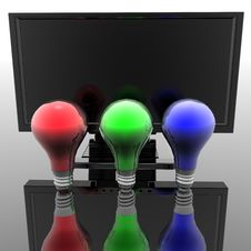Red, Blue And Green Lightbulbs Stock Photos