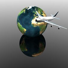 Airliner With Earth Royalty Free Stock Image