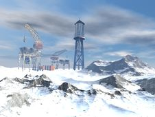 Drilling Platform In Winter Stock Image