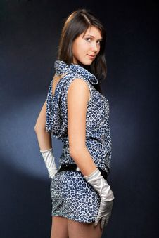Beautiful Woman In Dress And Gloves Stock Photo