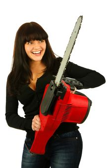 Free Woman With The Handsaw Stock Image - 14137001