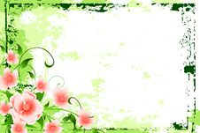 Abstract Grunge Background With Flowers Royalty Free Stock Images