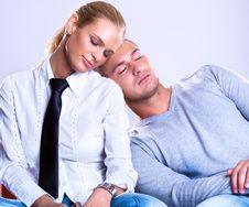 Free Business Team Man Laying On Woman S Shoulder Stock Images - 14137914