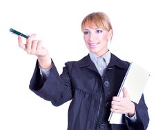 Free Business Woman Holding A Folder And Pen Pointing Royalty Free Stock Image - 14137986