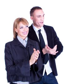Business Woman And Business Man Clapping Hands Stock Photo