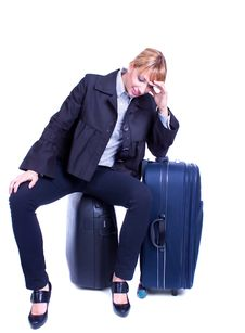 Free Businesswoman Sits On Black Suitcase And Waiting Stock Photos - 14138063