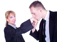 Free Handsome Businessman Kisses Lady S Hand Royalty Free Stock Photos - 14138068