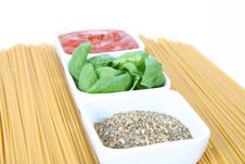 Ingredients For Spaghetti Bolognese Or Napoli Stock Image