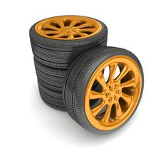 Wheels Over White Background. Royalty Free Stock Image