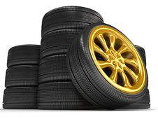 Wheels Over White Background. Royalty Free Stock Photo