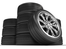 Wheels Over White Background. Stock Photography