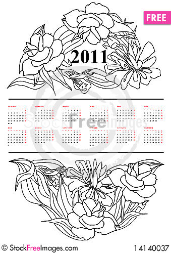 Free Calendar For 2011 Royalty Free Stock Photography - 14140037
