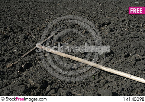 Free Rake In The Field Royalty Free Stock Photos - 14140098