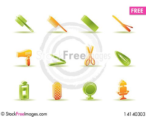 Free Hairdressing, Coiffure And Make-up Icons Stock Photos - 14140303