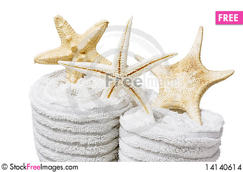 Free Towel And Shells Stock Images - 14140614