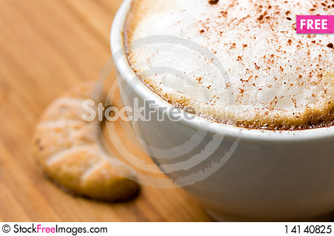 Free Cappuccino And Sweet Cookies On The Wooden Backgro Royalty Free Stock Photo - 14140825