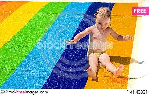 Free Water Slide Fun On Outdoor Pool Stock Image - 14140831